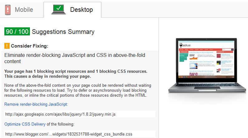 Tối ưu tốc độ tải trang tăng điểm PageSpeed Insights